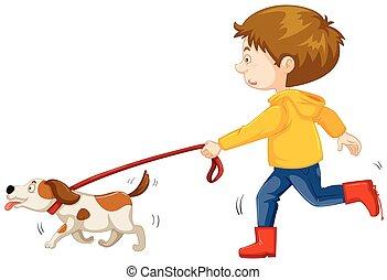 garçon, peu, chien marche