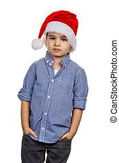 garçon, peu, claus, chapeau, santa