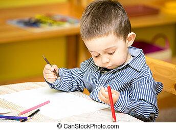 garçon, peu, coloré, crayons, jardin enfants, enfant, table, dessin, préscolaire