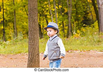 garçon, peu, coloré, parc, marche, automne, bébé