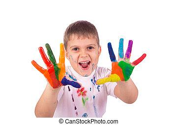 garçon, peu, coloré, peint, peintures, caractères, main, mains, prêt