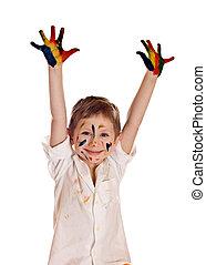 garçon, peu, coloré, peint, peintures, sur, caractères, main, fond, mains, prêt, blanc