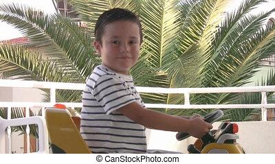 garçon, peu, conduite, voiture