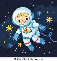 garçon, peu, cosmonaute, stars., espace