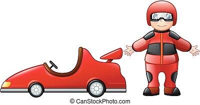 garçon, peu, courses, voiture rouge