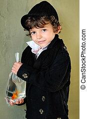 garçon, peu, dehors, élégant, poisson rouge, portrait