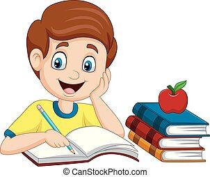 garçon, peu, dessin animé, étudier