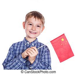 garçon, peu, drapeau chinois, fond, blanc