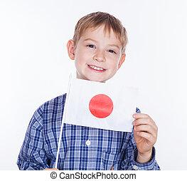 garçon, peu, drapeau japonais, fond, blanc