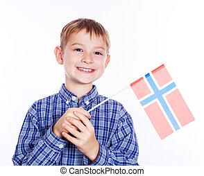 garçon, peu, drapeau norvégien, fond, blanc