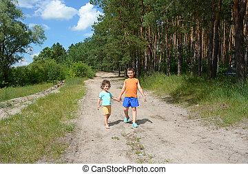 garçon, peu, ensoleillé, girl., clair, forêt, aller, jour, route