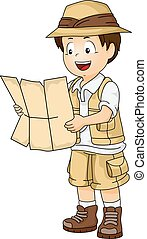 garçon, peu, entiers, engrenage, illustration, safari, lecture, duper