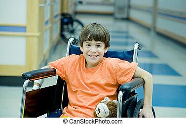 garçon, peu, fauteuil roulant