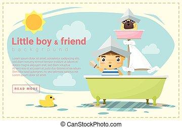 garçon, peu, fond, expédier capitaine, ami