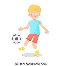 garçon, peu, football, fond, blanc, jouer