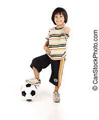 garçon, peu, football, isolé, fond, blanc, jouer
