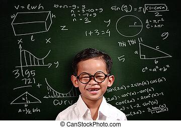 garçon, peu, génie, asiatique, étudiant, math