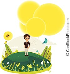 garçon, peu, grand, marche, jaune, air, chaud, tenue, balloons., extrêmement, tas