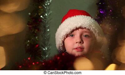 garçon, peu, habillé, claus, santa, 8