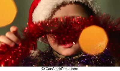 garçon, peu, habillé, claus, santa, 9