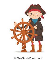 garçon, peu, habillé, marin, capitaine, pirate