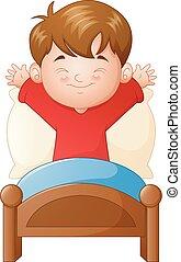 garçon, peu, haut, lit, réveiller, fond, blanc