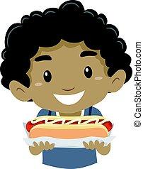 garçon, peu, hot-dog, tenue, gosse