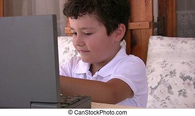 garçon, peu, informatique