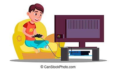 garçon, peu, isolé, illustration, divan, jeux, vector., vidéo, jouer
