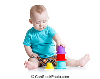 garçon, peu, jouer, jouets