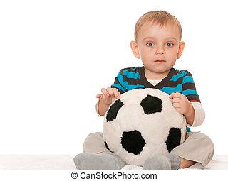 garçon, peu, jouet, balle, grand
