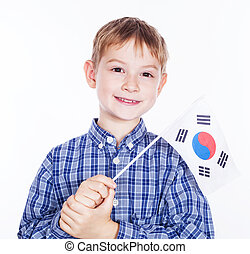garçon, peu, koreanian, drapeau, fond, blanc, sud