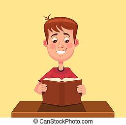 garçon, peu, lecture, caractère, livre