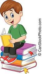 garçon, peu, lecture, dessin animé, livre