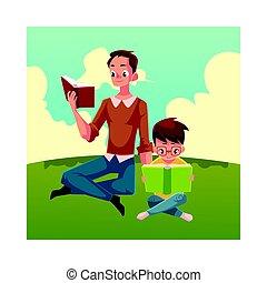garçon, peu, lecture, séance, jeune, livres, jambes...