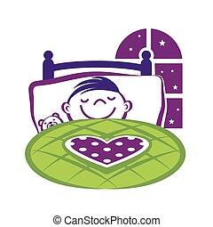 garçon, peu, lit, dormir