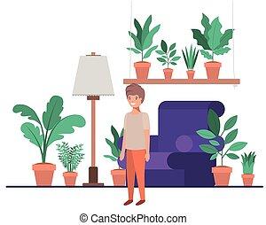 garçon, peu, livingroom