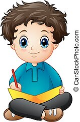 garçon, peu, livre, dessin animé, écriture