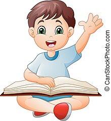 garçon, peu, livre, lecture, dessin animé