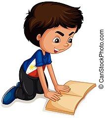 garçon, peu, livre lecture