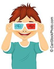 garçon, peu, lunettes, sourire, essayer, 3d
