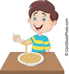 garçon, peu, manger, spaghetti
