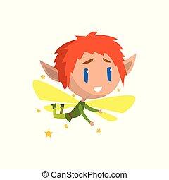garçon, peu, mignon, ailé, elfe, conte fées, caractère, illustration, vecteur, cheveux, fond, blanc rouge