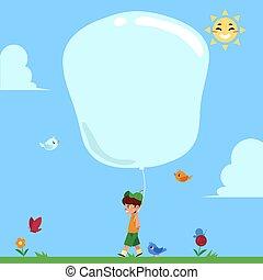 garçon, peu, naturel, balloon., grand, parc, marche, air, chaud