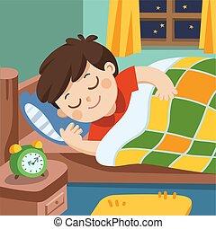 garçon, peu, night., sommeils