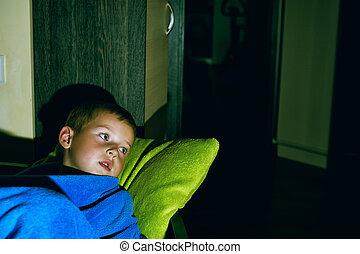garçon, peu, .night, terrors, lit, effrayé