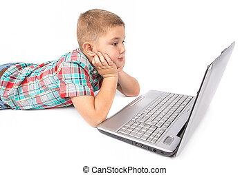 garçon, peu, ordinateur portable, fonctionnement
