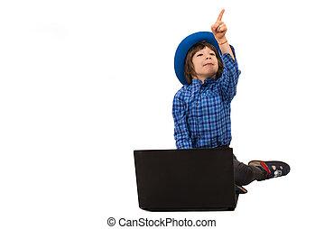 garçon, peu, ordinateur portable, pointage, loin