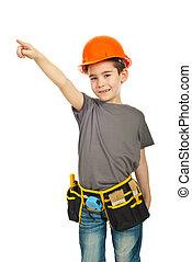 garçon, peu, ouvrier, pointage, constructeur