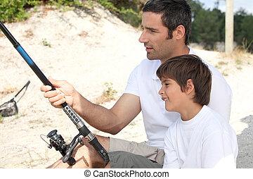 garçon, peu, père, voyage pêche